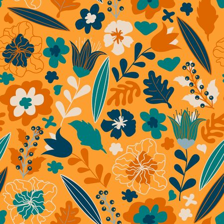Vector floral pattern. Seamless print made of hand draw flowers, leaves and berries. Colorful illustration for kids. Summer and spring motifs Stock Illustratie
