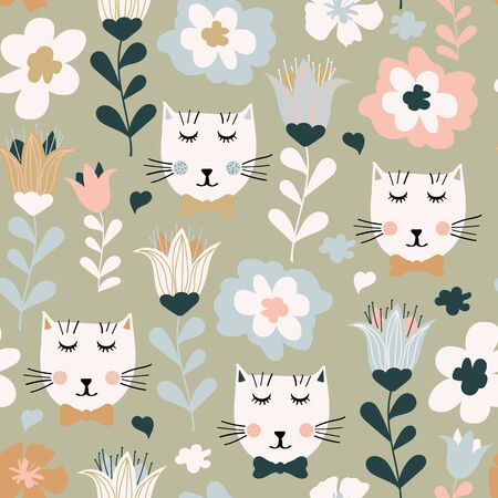 Seamless pattern with cute colorful cats and flowers. Creative childish texture in pastel colors, vector  イラスト・ベクター素材