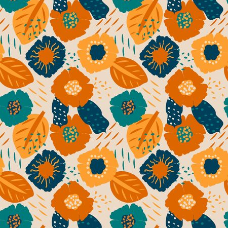 Colorful seamless pattern with abstract floral motif. 向量圖像