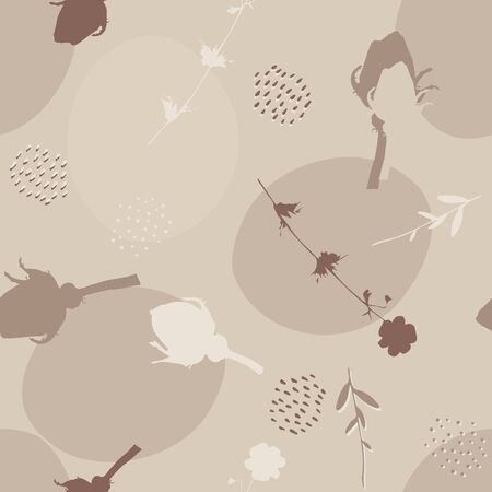 Seamless floral pattern in neutral pastel colors. Great for wallpaper, fabric, packaging, surface decor, and more