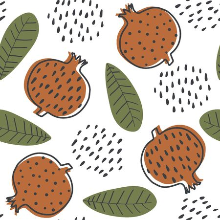 Abstract seamless pattern with stylized cartoon garnets. Design with colorful garnets and leafs. Seamless pattern with fruits in scandinavian style