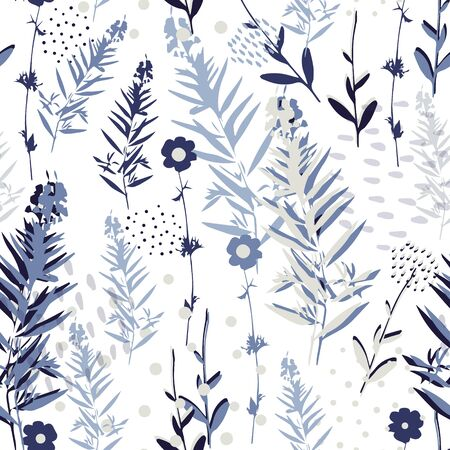 Botanical seamless pattern in blue colors, vector Vectores