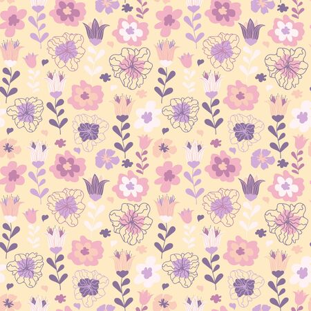 Elegant floral pattern for kids. Floral seamless background in pastel colors. Cute floral seamless pattern. Vintage botanical texture, vector. Good for products for kids, wallpaper, textile and more Ilustracja