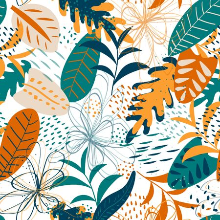 Vector seamless pattern, nature design. Colorful floral background. Bright tropical leafs pattern. Seamless texture with floral ornament for fabric, wallpaper, cover and more
