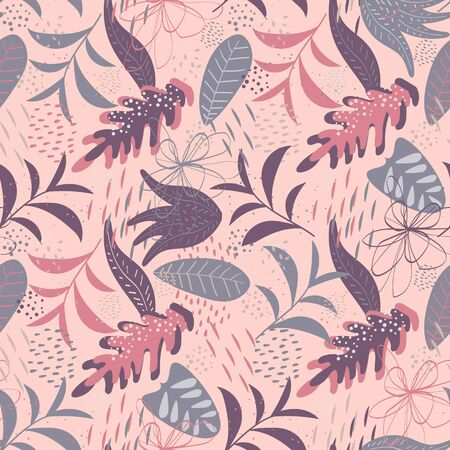 Vector tropical seamless pattern in pastel pink and lilac colors. Elegant tropical background. Seamless texture with floral ornament for fabric, wallpaper, cover and more Ilustracja