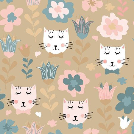 Seamless pattern with hand drawn cats and flowers. Seamless pattern with cute kittens and flowers in pastel colors. Creative childish texture in pastel colors, vector