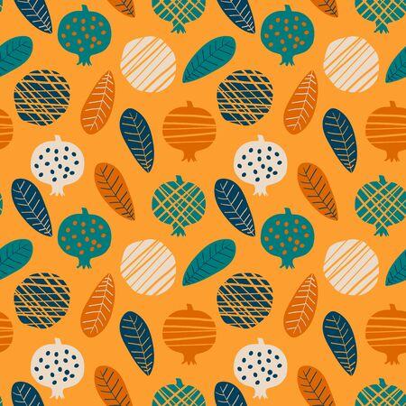 Trendy seamless pattern with stylized pomegranate, vector illustration Archivio Fotografico - 138440115