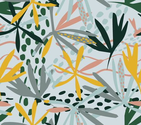 Tropical leaves seamless pattern, vector. Cute tropical background. Seamless texture with floral ornament for fabric, wallpaper, cover and more