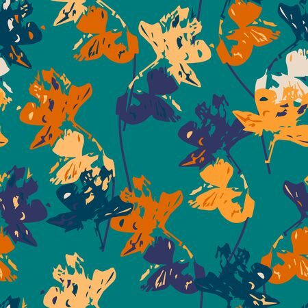 Colorful seamless pattern with abstract flowers, vector