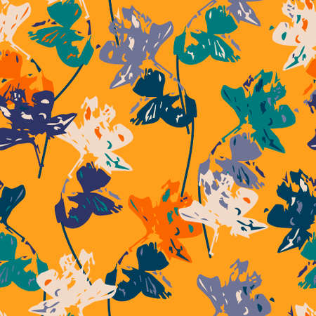 Elegant seamless pattern with exotic flowers, vector. Seamless pattern with orchids. Use for background, wallpaper, surface decoration, textile and more