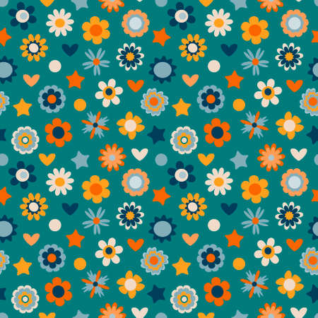 Cute floral design for kids, vector. Colorful seamless pattern with flowers, hearts, stars