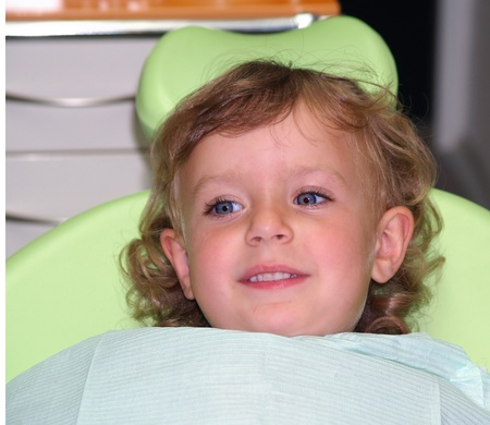 Brave little girl on dental check up