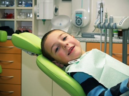 Preschool boy on dental prevention examination Stock Photo