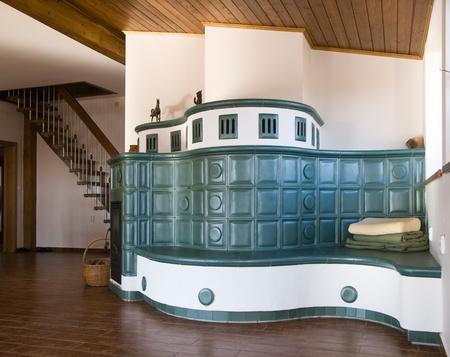 Modern green dutch tiled stove