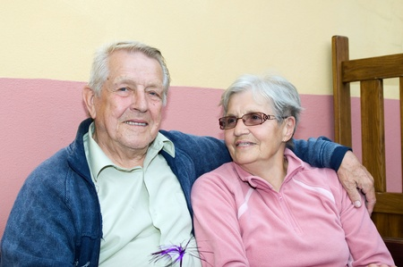 Satisfied married couple of seniors Stock Photo