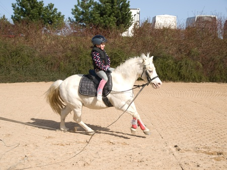Little girl on galloping white ponny