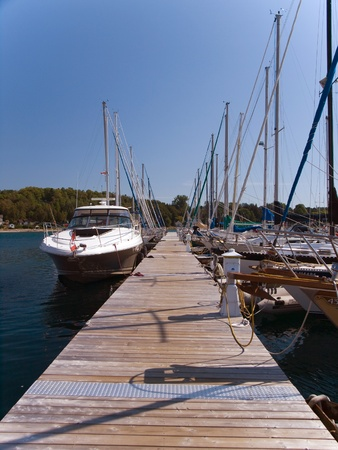 Boats in Lion�s Head port, Canada