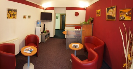 Waiting room with reception in dental clinic photo