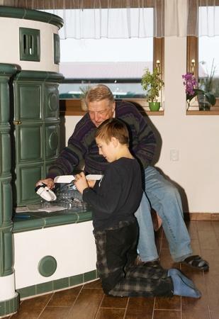 granddad: Grandson and granddad playing together