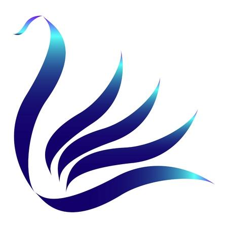 орнитология: Нарисованные стилизованный синий лебедь логотип Иллюстрация