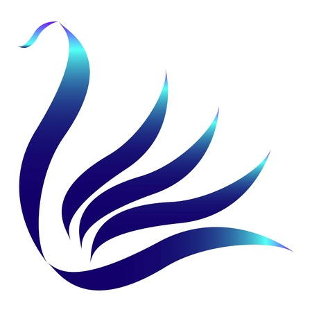 Drawn stylized blue swan logo Vector