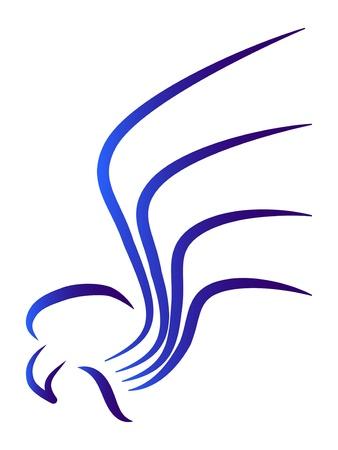 орнитология: Рисованные стилизованный синий орел логотип