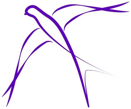 Disegnato logo di uccello rondine