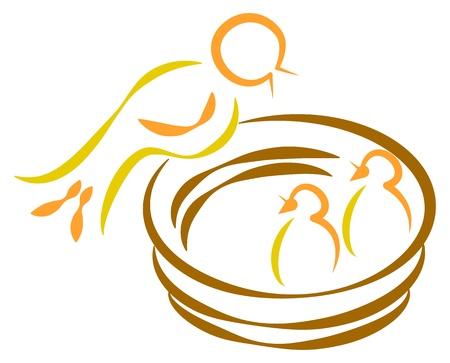 feeds: Mother feeding fledglings inside nest Illustration