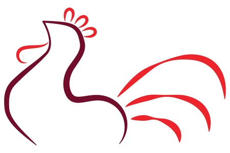 Drawn of stylized rooster logo Illustration