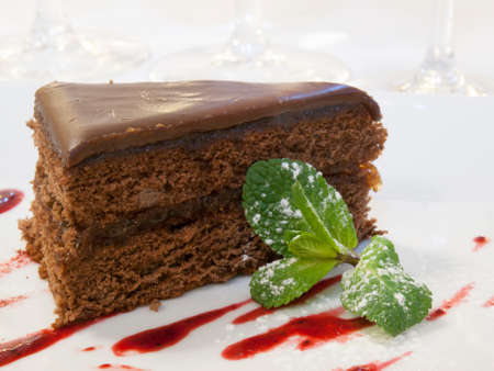 bisquit: Piece of chocolate cake decorated by mint
