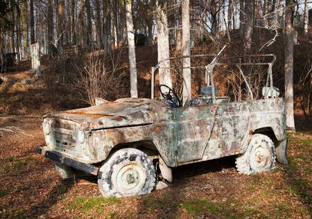 paintball: Damaged car used on paintball area Stock Photo