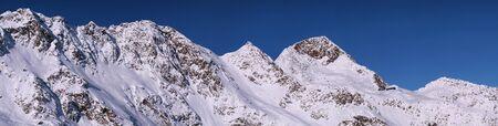 Panorama view on mountain range os Stubai Alpen in Austria