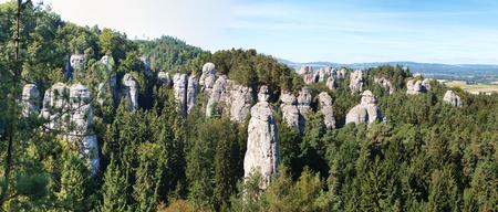 Bohemian Paradice, rock town named Kapela - European geopark UNESCO, the oldest protected area in Czech republic Stock Photo