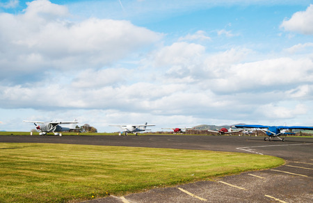 Overall view on airport with parked sport airplains Stock Photo