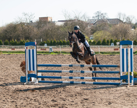 Girl jumping over hurdle on showjumping competition