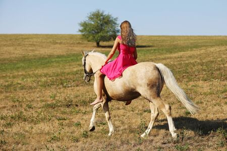 Girl on palomino ponny on meadow in summer afternoon