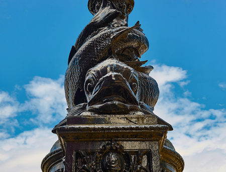 Old street lamp statue in London