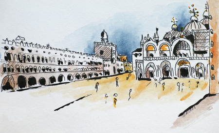 mediterranean homes: Basilica San Marco little sketch