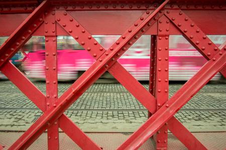steelwork: structural steel bridge in wroclaw