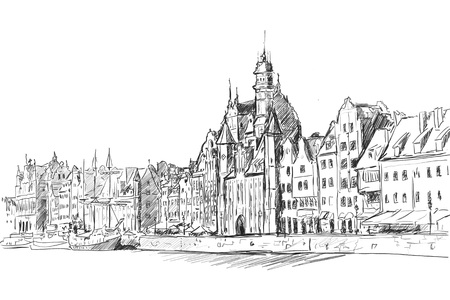 Gdansk old townfrom motlawa river Stock Photo