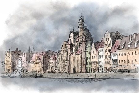 rive: Gdansk old town from Motlawa rive Stock Photo