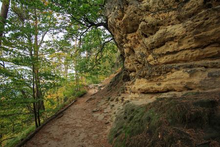 czech switzerland: Prebischtor Pravicka brana a famous natural monument in Czech Switzerland Archivio Fotografico