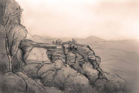 sandstone: Sandstone bridge Prebischtor in beohemian switzerland illustration Stock Photo