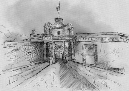limestone: Sketch of T Mdina, MALTA