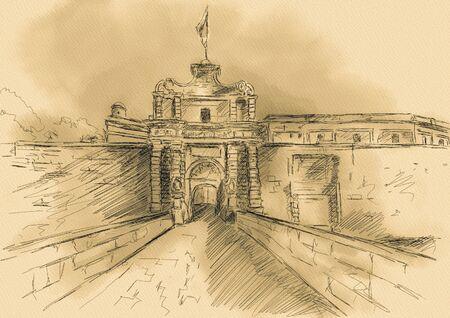malta cities: Sketch of T Mdina, MALTA