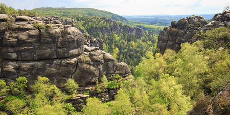 panorama view at Saxon Switzerland National park, Germany