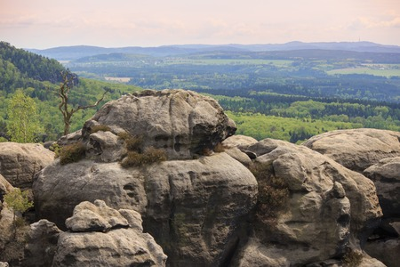 dresden: panorama view at Saxon Switzerland National park, Germany