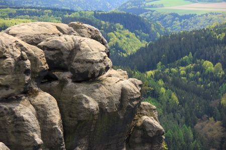 rock formation: panorama view at Saxon Switzerland National park, Germany