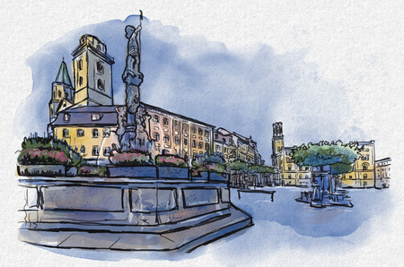 Illustration of Historic old town of Zittau with town hall Standard-Bild