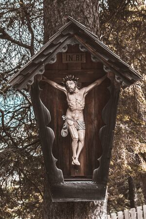 wayside shrine at the second station of the way of the cross, in Krimml Austria